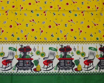"Fabulous Vintage Border Fabric for Aprons,Curtains,Crafts Bright Cute Print 3 Yards, 36"" Wide"