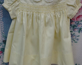 Sweet Vintage Baby Dress, Made in Philippines, Hand Smocking, Yellow, 18 Mo.