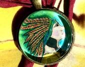 Cherokee Rose / Headdress  - Original Art - Bead / Charm / Pendant - Glass Tile - Cathy DeLeree