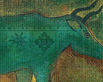Into The Blue Steer - Desert Sunset - Vintage Ephemera - Original Art  - Altered