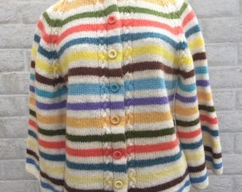 Beautiful hand knit striped cardigan with bell sleeves.