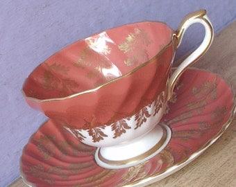 Vintage Mid Century Tea cup and saucer, Aynsley tea cup, Orange tea cup, Bone china teacup, Modern English tea cup, Danish modern inspired
