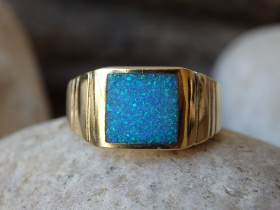 Gold Signet Ring Square Opal Signet Ring Fire By Rebekajewelry