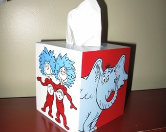 Hand painted Dr. Seuss tissue box cover