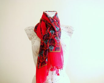 Summer scarf rectangle cotton scarf cotton bandana head scarf red scarf pareo wrap beach pareo cotton pareo wooden bead scarf jewelry