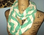 Turquoise or Mint Chevron Infinity Scarf