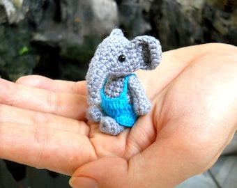 Mini Elephant Boy - Tiny Crochet Elephant Stuffed Animal  - Made To Order