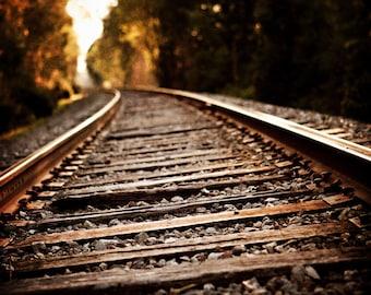 Rustic Wall Decor, Industrial Decor, Railroad Landscape Photography, Rustic Dark Brown Art, Train Tracks Print or Canvas Wrap, Art for Men.