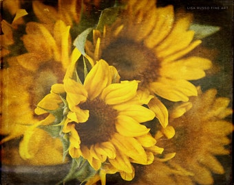 Sunflower Print or Canvas Wrap, Yellow Sunflowers, Golden Autumn Decor, Yellow Decor, Rustic Kitchen, Country Kitchen Decor, Flower Picture.