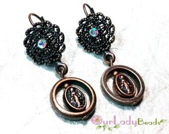 Religious Earrings, Miraculous Medal Earrings, Copper Earrings, Religious Jewelry, Catholic Jewelry