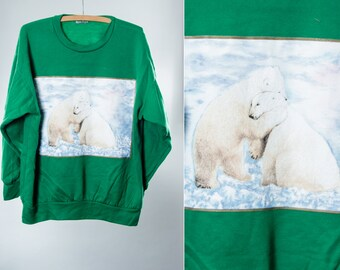 XL Vintage Sweatshirt Polar Bears Green | Super Soft Oversized Unisex Mens Womens 5FF