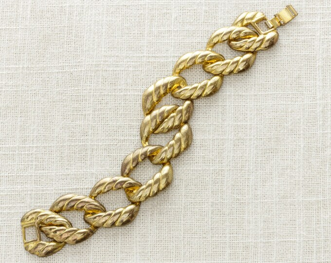 Gold Vintage Bracelet Chunky Chain 1970s Wide Rope Metal Bracelet | Stackable Metallic Jewelry | Vintage Diehls | Sale 15A