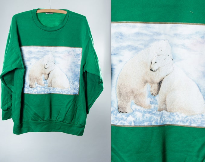 XL Vintage Sweatshirt Polar Bears Green | Super Soft Oversized Unisex Mens Womens 5FF