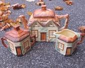 Keele St. Pottery Teapot Set w/ Sugar & Creamer Made in England Cottage Decor