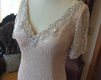 Sequin Rhinestone beaded wedding dress mother of bride dress flapper wedding dress