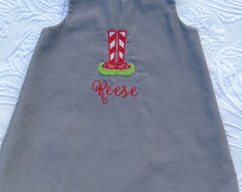 CHRISTMAS Jumper, corduroy, made in the usa, elf legs, santa, reindeer, classic jumper, FREE MONOGRAM, little girls, romper, boys matching
