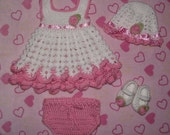 Crochet Baby Girl Dress Set, Hat/Headband, Dress, Diaper Cover, & Mary Jane Shoes, Made to Order, Free US Shipping