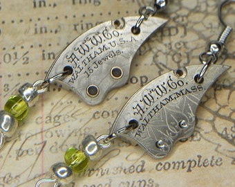 Steampunk Earrings - Bright Silver Vintage WALTHAM Train Bridges with Floral Etching and Silver/Green Beads - Unique & Fun Birthday Gift