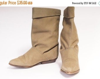 30% OFF 1980s short slouch boots ZODIAC Size 7 Beige