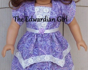 OOAK Edwardian lavender paisley dress, venice lace, ribbon fits Rebecca, Samantha, American Girl, Springfield, Our Generation. Made in USA