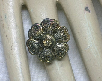 Antique Chinese Silver Hairpin Ring. Ching or Republic era. Flower. ID1. Size 4 (adjustable). Vermeil Sterling Silver