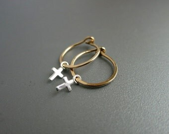 Gold Hoop Earrings Silver Cross Hoop Earrings