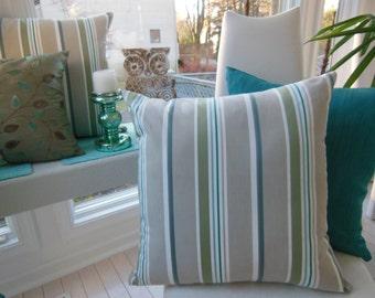 Large Sofa Pillow - Large Striped Pillow - Taupe Designer Pillow - Olive Green Pillow - Teal Blue Decorative Pillow - 20 x 20 Inch Pillow