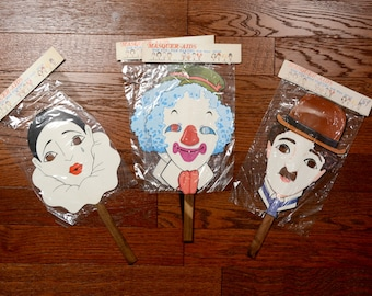 vintage mask on stick clown Chaplin mime Masquer-aids masquerade party Beachcombers Intl 1979 stick mask 70s 1970s vintage