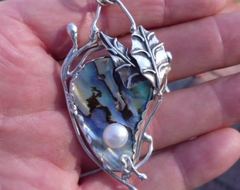 R31--Abalone and Fresh Water Pearl Pendant