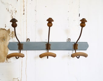 French Vintage Wooden coat Rack Industrial retro