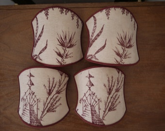 French Tole Sconce lampshades set of four Toile de Jouy Burgundy chinoiserie