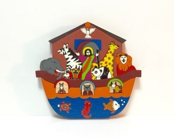 Hand painted Noah's Ark Wood puzzle made in El Salvador, removable pieces