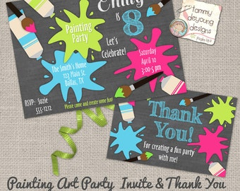 Art Party Invitation *Painting Party Invitation* Pink Girl Custom Digital Invite &  thank you note, Chalkboard Birthday, personalized, DIY