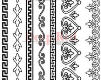 Deep Red Rubber Cling Stamp Greek Deco Borders Set