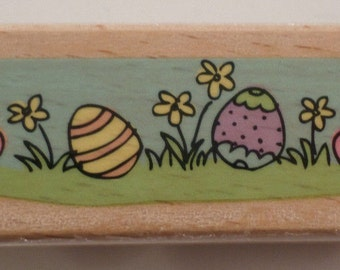 Studio G Easter Eggs In The Grass Holiday Wooden Rubber Stamp
