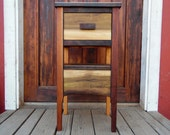 Handcrafted Wooden Side Table Charging Station Hides Cords