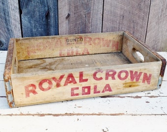 Vintage 1952 Royal Crown Soda Crate Red Logo Weathered Wood Handles Rustic Primitive Decor Storage Richmond Indiana 1950's