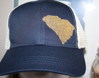 South Carolina 'Sparkly State' Hat - South Carolina Trucker Hat - Gold Glittler State Shape Hat