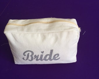 Off White Ivory  Bride Makeup Bag Cosmetic Pouch with Glitter Iron on