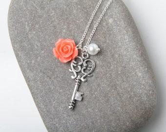 Key necklace, Coral rose necklace, vintage key necklace, coral bridesmaid necklace, Coral wedding jewelry, vintage wedding