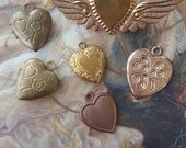 6 Vintage Hearts, Locket, Winged Pin & Old Brass Puffed Charms