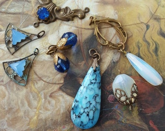 7 Vintage Sapphire BLUE Czech & Art Glass Pendants and Pieces UPCYCLED
