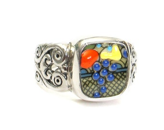 Size 11 Broken China Jewelry Autumn Fruit Basket Rectangle Sterling Scroll Ring