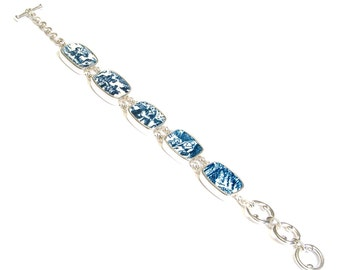 Broken China Jewelry Currier & Ives Blue Harvest Sterling Adjustable Bracelet