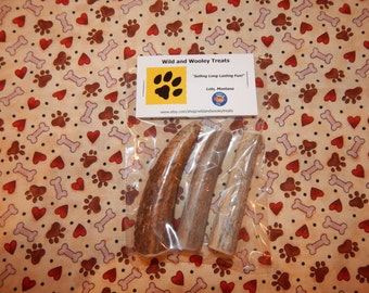 """3 Organic Small Deer and Elk Antler Dog Chews """"Made in Montana"""" (Lot D27)"""