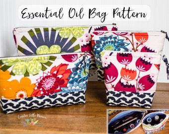 Essential Oil bag pattern, Essential oil case, Oil Storage PDF Pattern, Four Sizes, Storage for up to 11 Bottles, *Permission to Sell*