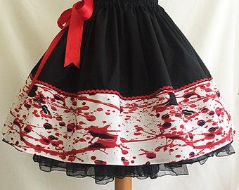 Blood Splatter Skirt, Blood Skirt, Halloween Skirt, Rooby Lane