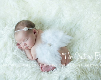 Dainty White Pearls and White Feather Angel Wing and Headband 2 Piece Set Preemie NewBorn Infant Butterfly Fairy Wings