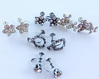 MOVING SALE Half Off Beautiful Sparkling Craft Lot of Vintage Salvaged  Rhinestone  Earrings  Perfect for Bridal Assemblage