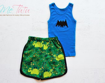 Boys Shorts and singlet set Dragon Bat Superhero